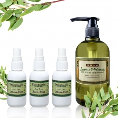 【芳香小舖】天然植萃茶樹尤加利抗菌潔淨液60ml x3 + 茶樹尤加利抗菌補充液500ml